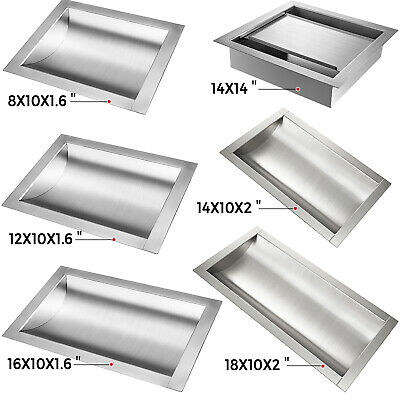 "Stainless Steel Drop-In Deal Tray, Brushed Finish, 8"",12"",16"""