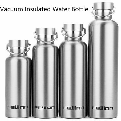 500/750ml Water Bottle Vacuum Thermos Insulated Metal Flask Gym Sports Drink Cup