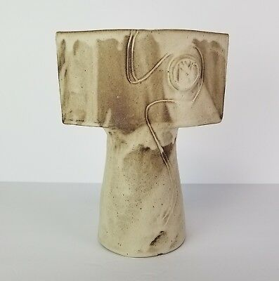 Ikebana Vase Studio Pottery Pedestal Tall Flower Floral Contemporary Russell