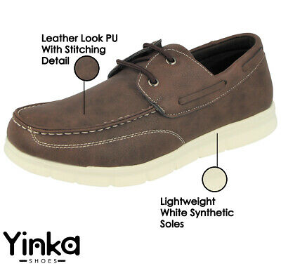 Mens Faux Leather Brown Slip On Lace Up Casual Deck Loafer Boat Moccasin Shoes