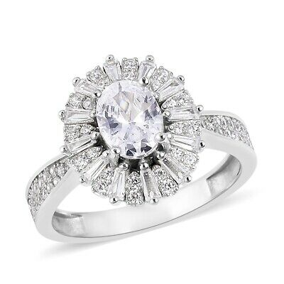 925 Sterling Silver Cubic Zirconia CZ Cluster Ring Jewelry Gift Size 10 Ct 5.3