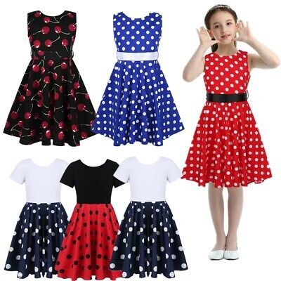 Flower Girl Dress Kids Polka Dots Swing Dress Party Birthday Casual Vintage Gown