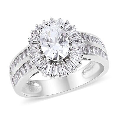925 Sterling Silver Cubic Zirconia CZ Cluster Ring Jewelry Gift Size 5 Ct 3.8