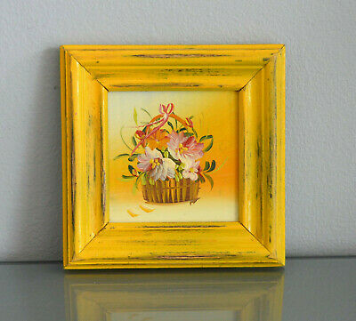 Scandinavian Impressionism Framed Original oil painting Flowers Rustic Yellow