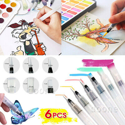 AU 6x Artist Ink Water Brush Pen Set For Watercolor Calligraphy Painting Drawing