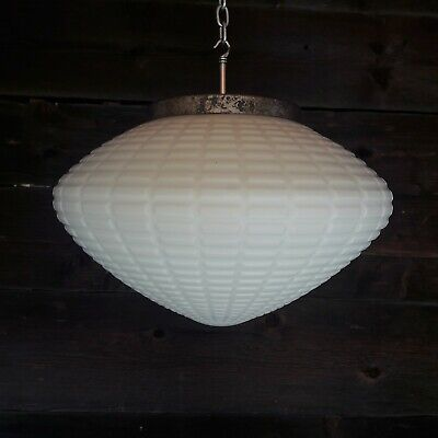 Huge 1960 European White Opaline Glass Hanging Pendant Ceiling Light *Low Price*