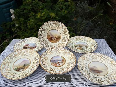 6 x Antique English porcelain hand painted Rural scenes plates 8.80""