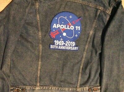 """Apollo 11 Patch 50Th Anniversary Large 10"""" Jacket Style 1969 - 2019 Nasa Space"""