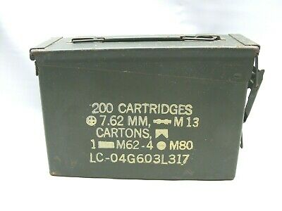U.S. Military Ammo Metal Box 200 Cartridges 7.62mm M13 M62-4 M80 Case Army Empty