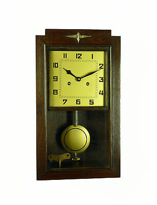 Antique German Art Deco JUNGHANS PFEILKREUZ Wall Clock 1910's  3 Bar Chime