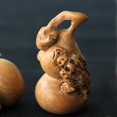 Natural Wood Carved Gourd Handmade Craft Charms Decors Home Miniature Ornaments