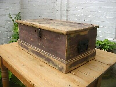 Antique Vintage Pine Chest Trunk Box