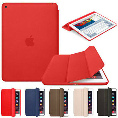 "For Apple iPad 6th 9.7"" 2018 Ultra Slim Genuine Leather Smart Cover Stand Case"