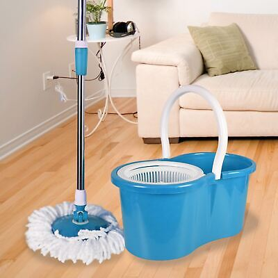 Easy 360° Magic Rotating Spinning Mop Bucket Spin Set With 2 Microfibre Heads