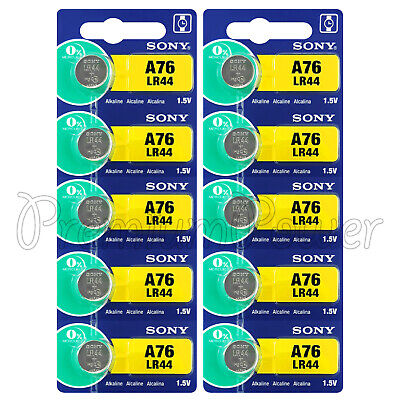 10 x Sony A76 batteries Alkaline LR44 1.5V AG13 L1154 Coin cell watches Japan