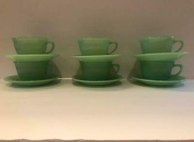 Fire King Jadeite Jane Ray Coffee Cup and Saucer Green Jadite Ribbed 6 Sets