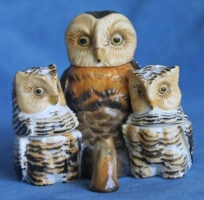 Antique Signed Marked Painted Bisque Porcelain 4 Pc Owl Owlets Cruet Set Germany