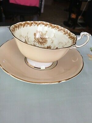 Paragon England Bone China Beige & Brown  Flowers Tea Cup & Saucer Duo