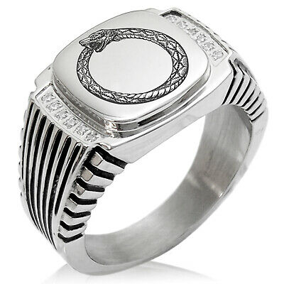 Stainless Steel Greek Mythology Ourobos Needle Striped CZ Biker Signet Ring