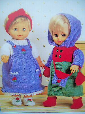 Girls Baby Doll Clothes KNITTING PATTERN DK Height 12 - 22in Dress Coat Bag 7160