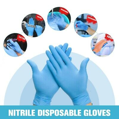 100pcs Blue Safety Nitrile Work Gloves Powder Free Food Grade XS S M L XL