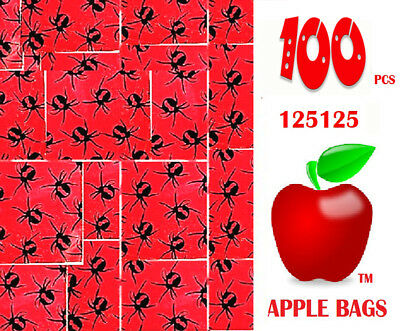 Apple Ziplock zip lock bags Small 100 x REDBACK SPIDER Design 125125 32mm x 32mm