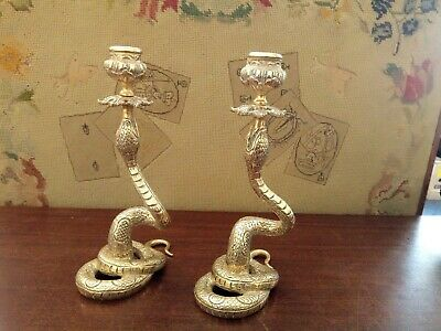 Rare Victorian Pair of Brass Snake serpent Candlestick Holders large 9 inch