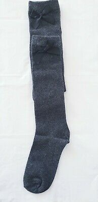 2 Pairs Girls Knee High Socks  WITH BOW Grey size 12.5 - 3.5 Back to School