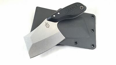 Gerber Tri-Tip Mini Cleaver Black Fixed Blade Knife w/ Sheath 1693