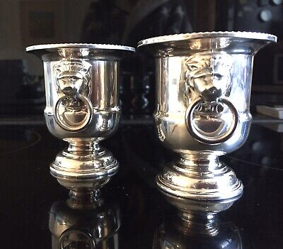 Pair Of Vintage Viners Sheffield Silver Lion Head Handles Candle Holders