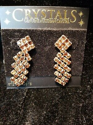 Genuine Austrian Crystal $39 earrings Smoky Topaz- Brown Geometric Drop Earring