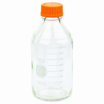 PYREX #1395-1L, 1L Round Media Storage Bottles, GL45 Screw Cap (Case 10)