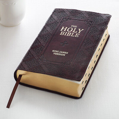 HOLY BIBLE KJV Dark Brown Giant Print Thumb Index Red Letter +FREE SHIPPING