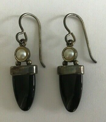 Vintage Signed SAW 925 Sterling Silver Onyx and Pearl Dangle Earrings 4.1 Grams