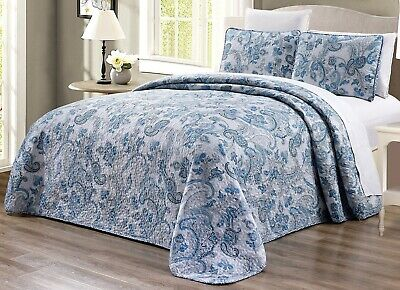 Grey Black White Blue Paisley Quilt Reversible Bedspread FULL / QUEEN Size Cover