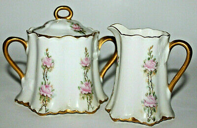 Antique Habsburg China MZ Austria Sugar and Creamer with Petite Pink Roses Mint