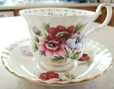 Royal Albert Flowers Of The Month Series March Anemone Bone Cup Saucer Plate UK