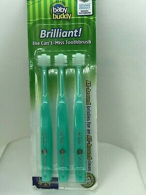 Brilliant Baby Toothbrush by Baby Buddy - for Ages 4-24 Months 3 Count