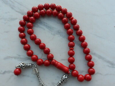 Antique Old Genuine Natural Undyed Red Coral Prayer Beads 33 Grams