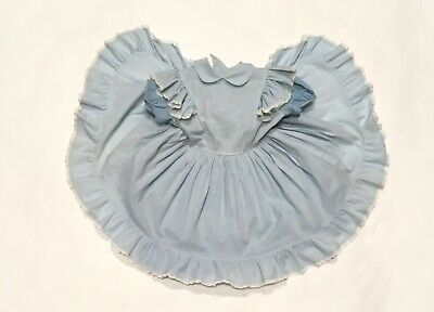 Kate Greenaway Pageant Dress Blue Gingham Ruffled Lace Party Vintage Girls Frock
