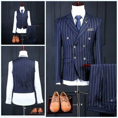 Men's Double Breasted Slim fit Striped Suits 3 Piece Business Formal dress Suits