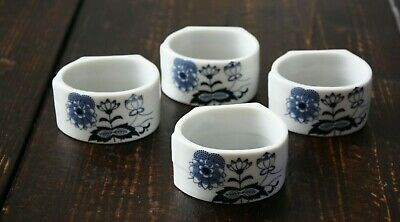 House of Prill Porcelain BLUE ONION Napkin Rings Holders Set of 4 England