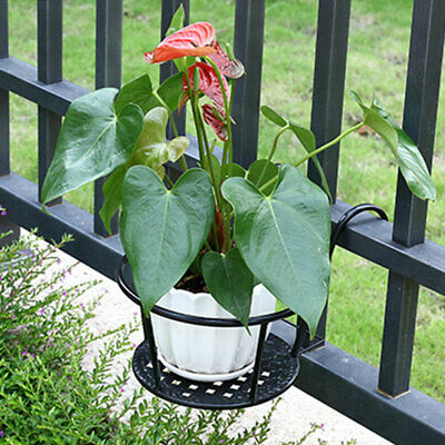Outdoor Balcony Garden Plant Pot Iron Rack Planter Flower Hanging Holder Basket