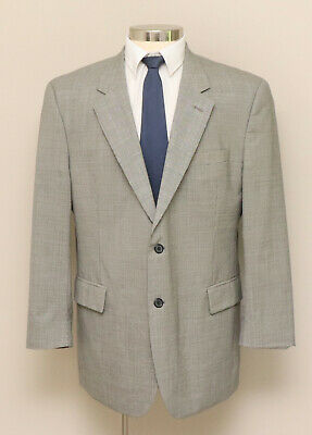 Mens 44R Jos. A. Bank Black and White Houndstooth 100% Wool Blazer