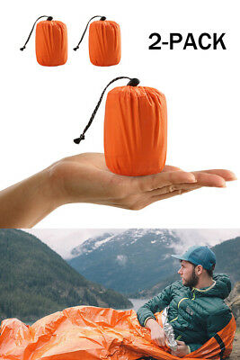 2/1Pack Reusable Emergency Sleeping Bag Thermal Waterproof Survival Camping Bags