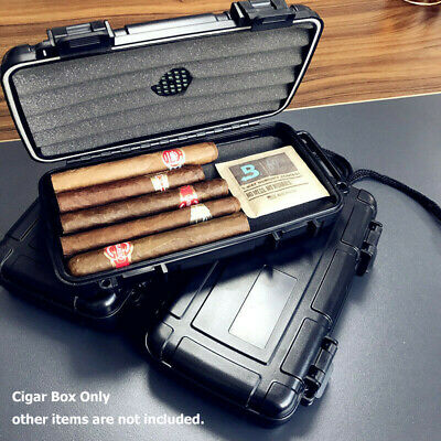 Portable 5Count Cigar Box Case Humidor Holder Men Father Gift Travel Hygrometer