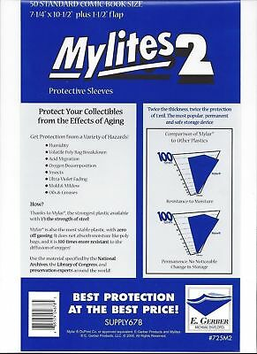 50 Gerber Standard Mylar Mylite2 (=BCW Silver); FAST FREE SHIPPING