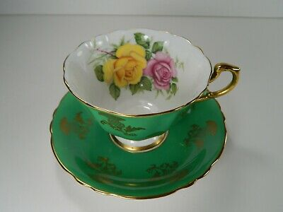 Paragon Yellow Pink Rose Tea Cup and Saucer. Green with Gold Gilt.