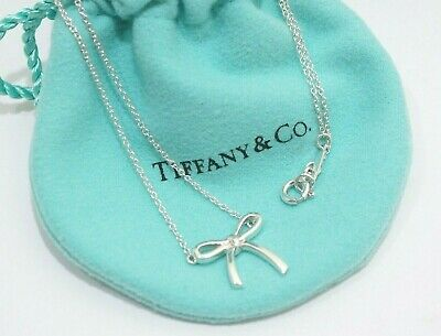 Tiffany & Co. Sterling Silver Mini Ribbon Bow Pendant Necklace 16""