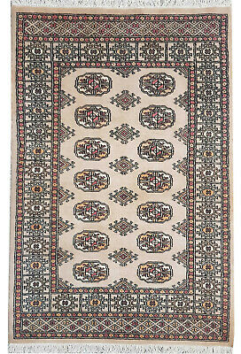 3 x 5 Traditional Hand Knotted Modern Bokhara Area Rug Cream Color 100% Wool Rug